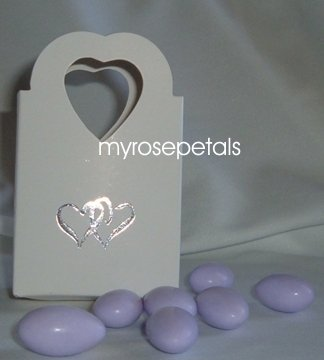 Favor Boxes - White with Embossed Silver Double Hearts - (100 pcs) Wedding/Shower/Party Favors