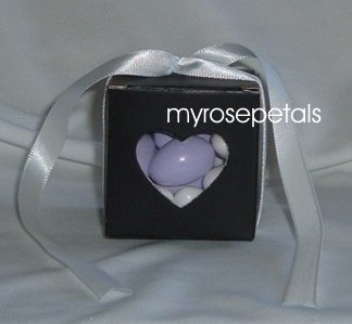 Favor Boxes - Transparent Heart - Black - (50 pcs) Wedding/Shower/Party Favors