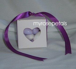 Favor Boxes - Transparent Heart - White - (50 pcs) Wedding/Shower/Party Favors