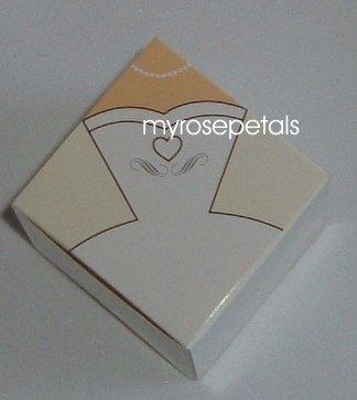 """Favor Boxes - Bridal White Gown/Dress - 2"""" x 2"""" x 2"""" - (10 pcs) Wedding/Shower/Party Favors"""