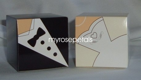 Favor Boxes - Tuxedo & Bridal Gown/Dress Design - (10 pcs) Wedding/Shower/Party Favors