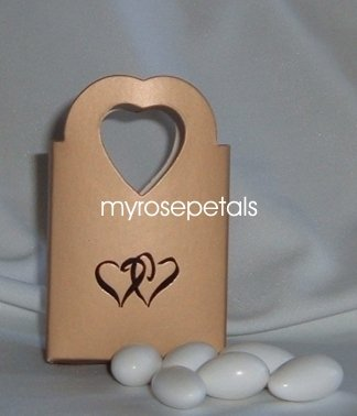 Favor Boxes - Gold with Embossed Black Double Hearts - (10 pcs) Wedding/Shower/Party Favors