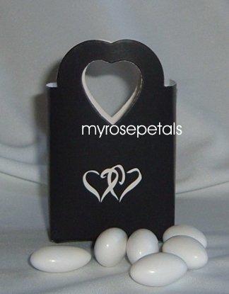 Favor Boxes - Black with White Double Hearts - (10 pcs) Wedding/Shower/Party Favors
