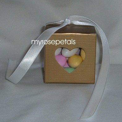 Favor Boxes - Transparent Heart - Gold - (10 pcs) Wedding/Shower/Party Favors
