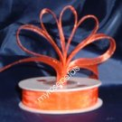 Sheer Organza Ribbon Mono Edge - 3/8&quot; - 25 Yards (75 FT) - Orange