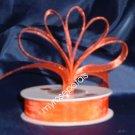 """Sheer Organza Ribbon Mono Edge - 3/8"""" - 25 Yards (75 FT) - Orange"""