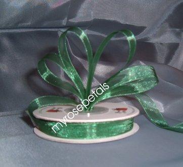 """Sheer Organza Ribbon Mono Edge - 3/8"""" - 25 Yards (75 FT) - Green"""