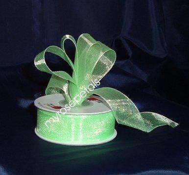"""Sheer Organza Ribbon Mono Edge - 3/8"""" - 25 Yards (75 FT) - Lime Green"""