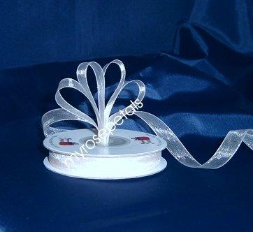 "Sheer Organza Ribbon Mono Edge - 3/8"" - 25 Yards (75 FT) - White"