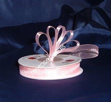 """Sheer Organza Ribbon Mono Edge - 3/8"""" - 25 Yards (75 FT) - Pink"""