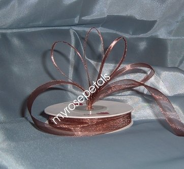 "Sheer Organza Ribbon Mono Edge - 5/8"" - 25 Yards (75 FT) - Brown"