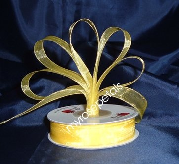 "Sheer Organza Ribbon Mono Edge - 5/8"" - 25 Yards (75 FT) - Yellow"