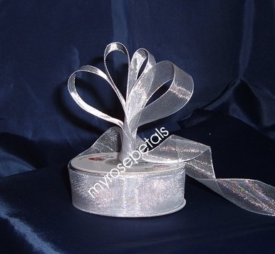 "Sheer Organza Ribbon Mono Edge - 5/8"" - 25 Yards (75 FT) - Silver"