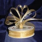 "Sheer Organza Ribbon Mono Edge - 5/8"" - 25 Yards (75 FT) - Gold"