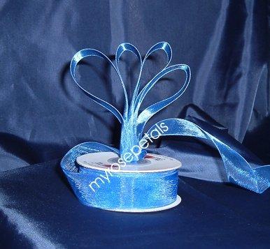 """Sheer Organza Ribbon Mono Edge - 5/8"""" - 25 Yards (75 FT) - Royal Blue"""