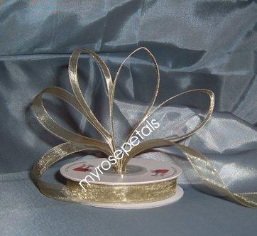 """Sheer Organza Ribbon Mono Edge - 5/8"""" - 25 Yards (75 FT) - Sage"""
