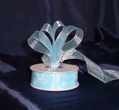 """Sheer Organza Ribbon Mono Edge - 7/8"""" - 25 Yards (75 FT) - Baby Blue"""