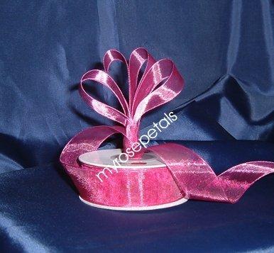 "Sheer Organza Ribbon Mono Edge - 7/8"" - 25 Yards (75 FT) - Burgundy"