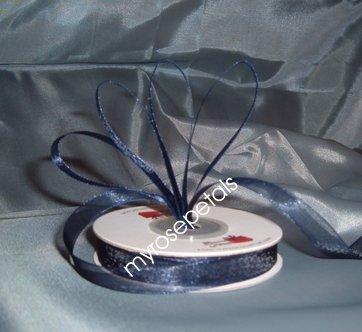 """Sheer Organza Ribbon Mono Edge - 7/8"""" - 25 Yards (75 FT) - Navy Blue"""