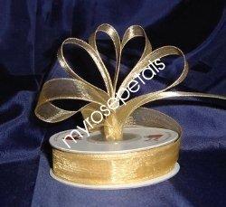 """Sheer Organza Ribbon Mono Edge - 7/8"""" - 25 Yards (75 FT) - Gold"""