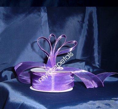 "Sheer Organza Ribbon Mono Edge - 7/8"" - 25 Yards (75 FT) - Purple"