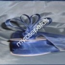 "Sheer Organza Ribbon Mono Edge - 7/8"" - 25 Yards (75 FT) - Smoked Blue"