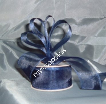 "Sheer Organza Ribbon Mono Edge - 1.5"" - 25 Yards (75 FT) - Smoked Blue"