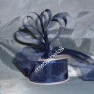 "Sheer Organza Ribbon Mono Edge - 1.5"" - 25 Yards (75 FT) - Navy Blue"