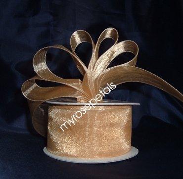 """Sheer Organza Ribbon Mono Edge - 1.5"""" - 25 Yards (75 FT) - Gold"""