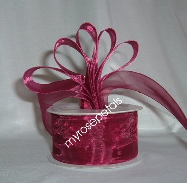 "Sheer Organza Ribbon Mono Edge - 1.5"" - 25 Yards (75 FT) - Burgundy"