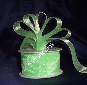 """Sheer Organza Ribbon Mono Edge - 1.5"""" - 25 Yards (75 FT) - Lime Green"""