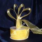 "Sheer Organza Ribbon Mono Edge - 1.5"" - 25 Yards (75 FT) - Yellow"