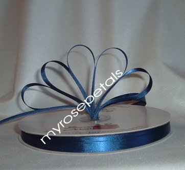 "Ribbon - Satin Ribbon- 3/8"" Single Face 100 Yards (300 FT) -Navy Blue-Sewing-Craft -Wedding Favors"