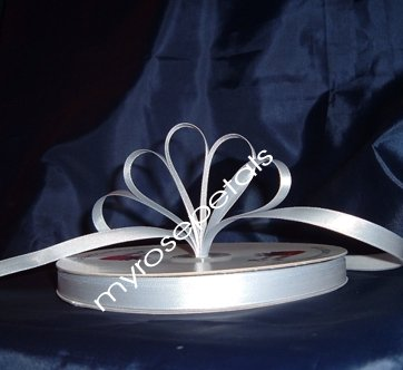 """Ribbon - Satin Ribbon- 3/8"""" Single Face 100 Yards (300 FT)- Silver -Sewing-Craft -Wedding Favors"""