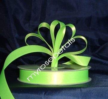 "Ribbon - Satin Ribbon- 5/8"" Single Face 50 Yards (150 FT) - Lime Green-Sewing-Craft- Wedding Favors"