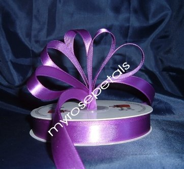 "Ribbon - Satin Ribbon- 5/8"" Single Face 50 Yards (150 FT) - Purple -Sewing-Craft- Wedding Favors"