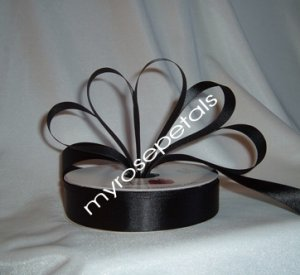"Ribbon - Satin Ribbon- 7/8"" Single Face 50 Yards (150 FT) - Black - Sewing - Craft - Wedding Favors"