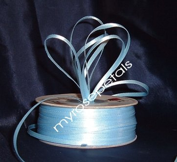 """Satin Ribbon- 1/8"""" Double Face 100 Yards (300 FT) - Light Blue -Sewing-Craft-Wedding Favors"""