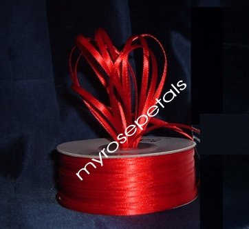 "Satin Ribbon- 1/8"" Double Face 100 Yards (300 FT) - Red -Sewing-Craft-Wedding Favors"