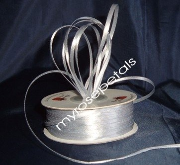 "Satin Ribbon- 1/8"" Double Face 100 Yards (300 FT) - Silver -Sewing-Craft-Wedding Favors"