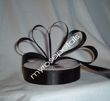 """Satin Ribbon- 7/8"""" Double Face 50 Yards (150 FT) - Black -Sewing-Craft - Wedding Favors"""