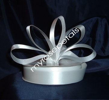 """Satin Ribbon- 7/8"""" Double Face 50 Yards (150 FT) - White -Sewing-Craft-Wedding Favors"""