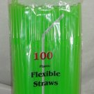 Straws - Flex/Flexible Drinking Straws - Luau - Wedding - Party - Lime Green - 200 Flexible Straws