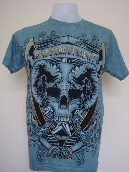 Shiroi Neko Design by Eternity Skull Punk Tattoo T-Shirt Blue Size L