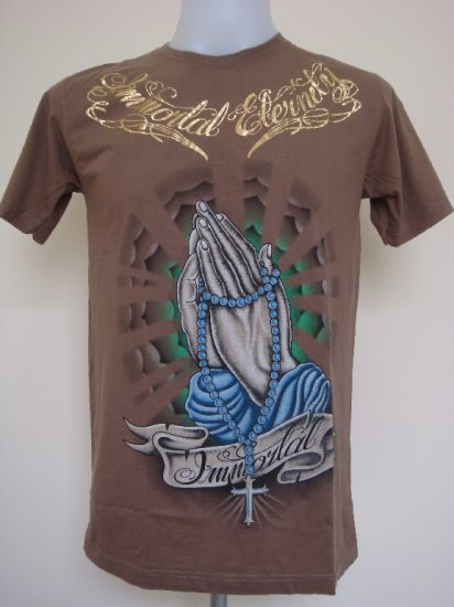 Shiroi Neko Design by Eternity Emperor Immortal Tattoo Art T-Shirt Brown Size M