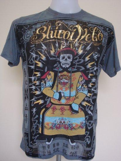 Shiroi Neko Vintage Skull Tattoo Art T-Shirt Dark Grey Size M