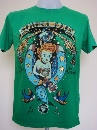 Shiroi Neko Sexy Girl Casino Tattoo Art T-Shirt Green Size M