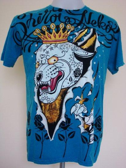 Shiroi Neko Jaguar Punk Crown Tattoo Art T-Shirt Blue Size M
