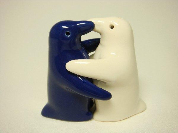 Ceramic Salt & Pepper Shakers Blue & White Penguin Hug
