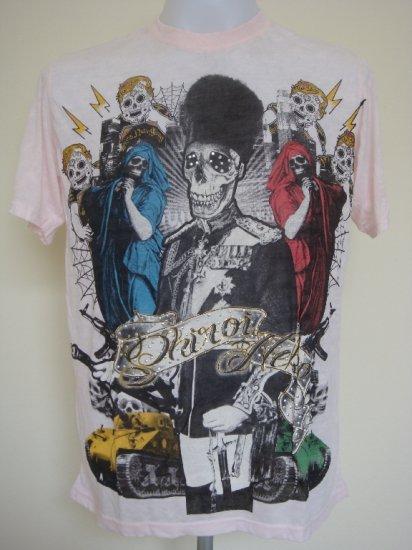 Shiroi Neko General Skull Tank Tattoo T-Shirt Pink Size L